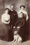 Studio Portrait  Family of Four with Terrier Dog