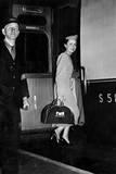 Twa Air Stewardess Boarding a Train