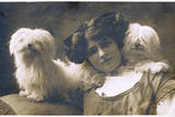 Studio Portrait  Young Woman with Two Dogs