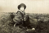 Little Boy in Sailor Suit with Dog