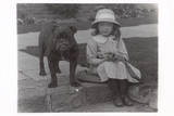 Little Girl and Bulldog in a Garden