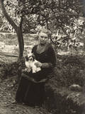 Woman with a Dog in a Garden  Italy