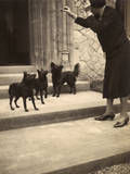 Woman and Three Small Dogs