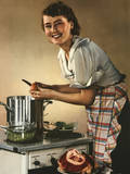 Smiling Woman Preparing a Wholesome Feast