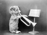 Dog Playing a Trumpet