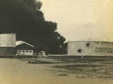 Madras Fuel Tanks on Fire  WWI
