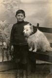 Studio Portrait  Boy with White Dog