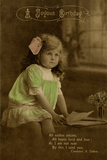 Little Girl in Green Dress on Birthday Postcard