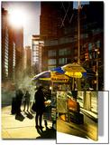 Urban Scene with Hotdog Vendors at Columbus Circle