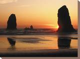 The Sun Sets over the Sea Stacks at Cannon Beach