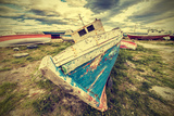 Old Boat Wreck  Vintage Retro Style