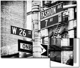 Signpost  Fashion Ave  Manhattan  New York City  United States  Black and White Photography