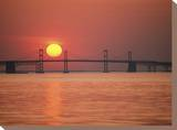 View from the Water of the Chesapeake Bay Bridge and the Setting Sun