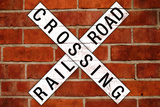 Railroad Crossing Crossbuck Brick Wall Traffic Print Poster