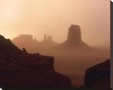 Sandstorm enshrouding mittens  Monument Valley  Arizona