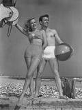 Couple on Beach W/Beach Ball