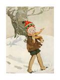 A Boy Walks Through the Snow Carrying Ice Skates