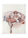 A Young Flapper Woman Reclining on a Snow Leopard Pelt
