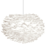 """Eos White Feather 18"""" Pendant - Hard-wired"""
