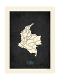 Black Map Colombia