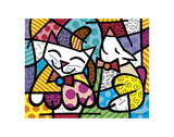 Happy Cat and Snob Dog Reproduction d'art par Romero Britto