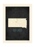 Black Map South Dakota