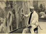 Mucha Working on 'The Coronation of the Serbian Tsar  Stepan Dusan  as East Roman Emperor'  1924