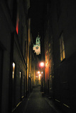 Stockholm Sweden Cobblestone Street At Night Photo Poster