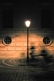 Ghost Bike Beneath Lamp Post in Denmark Photo Poster