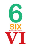 Number 6 Sign with Roman Numeral Banner Poster