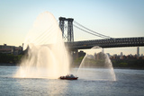 New York Fire Department Boat Spraying Water Photo Poster
