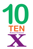 Number 10 Sign with Roman Numeral Banner Poster