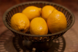 Antique Metal Bowl with Fresh Lemons Photo Poster