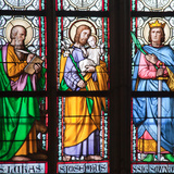 Prague  St Vitus Cathedral  Stained Glass Window  St Luke  St Joseph  St Sigismund