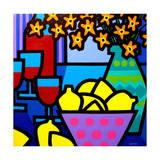 Wine  Lemons and Flowers