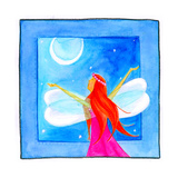 A Fairy with Arms Reaching Towards the Moon