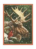 Winter Moose Giclée par William Vanderdasson