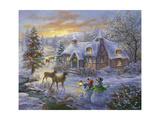 Cottage de Noël Giclée par Nicky Boehme
