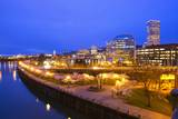 Night Image of Cherry Blossoms and Water Front Park  Willamette River  Portland Oregon