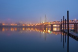 Sunrise thru Morning Willamette River and down Town Portland  Oregon