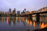 Early Morning down Town Portland and Willamette River  Portland Oregon