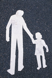Father and Child Painted on Road