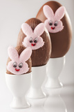 Chocolate Eggs with Bunny Faces in Egg Cups