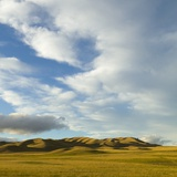 Grazing Farmland Hills and Cumulus Clouds  Evening  South Island  New Zealand