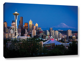 Seattle And Mt Rainier  Gallery-Wrapped Canvas