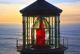 Cape Meares Lighthouse Lens at Sunset  from Cape Meares  Oregon  USA