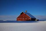 Old Red Barn and Truck after Snow Storm