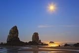 Moon Set over Neadles  Canon Beach  Oregon Coast  Pacific Northwest