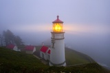 Fog Adds Beauty to Sunrise at Heceta Head Lighthouse  Oregon Coast