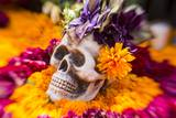 Flowers and Skull Laid out for Day of the Dead Celebration